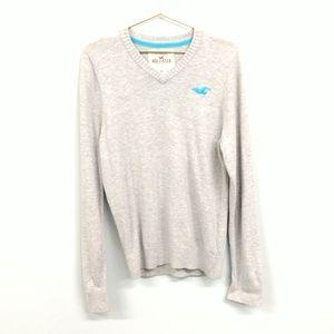 Hollister Gray V-neck Sweater Wool Blend Size XL